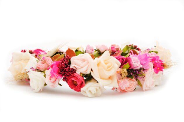 Wianek na ślub rustykalny różowy Ptaszarnia