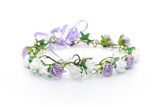 Wianek komunijny z kryształkami i fioletem Ptaszarnia
