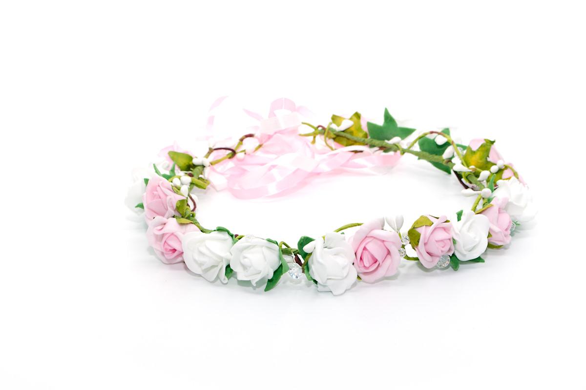 Wianek komunijny z kryształkami różowy Ptaszarnia